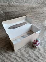 Крафт-коробка для 3 капкейков, 250х100х100мм, с окном