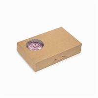 Крафт коробка для пончиков, 270х185х55мм, с окном